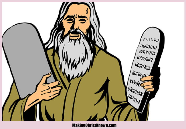 Moses breaks the 10 commandments